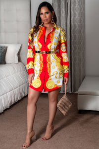 Dani Button Down Long Sleeves Colorful Retro Print Shirt Dress