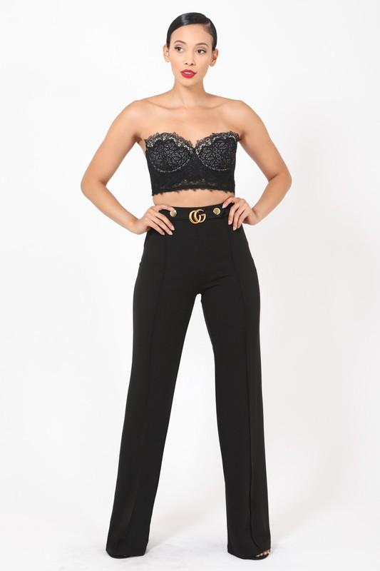 Double G Buckle and Button Detail High Waist Pants