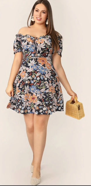 Plus Size Frilled Off Shoulder Floral Dress - lotusglam