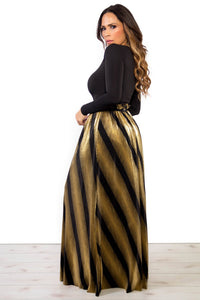 Metallic Gold Black Pleated Maxi Skirt - MY SEXY STYLES