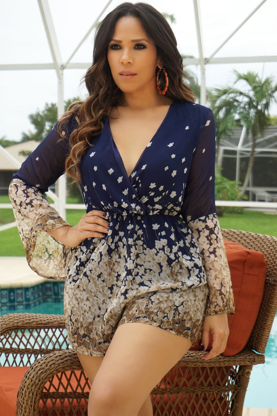 Reagan Floral V-neck 3/4 Sleeve Romper Playsuit -Navy