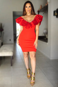 SCARLETT RED RUFFLED OFF SHOULDER BODYCON COCKTAIL DRESS