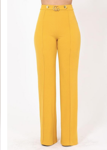 Gina Interlocked CG Buckle and Button Detail High Waist Pants in Yellow or Mauve