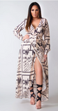 Valencia Letter Print Wrapped Belted Classy Maxi Dress