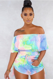 KENDRA OFF THE SHOULDER TIE DYE ROMPER