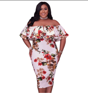 MERLA PLUS OFF SHOULDER DRESS