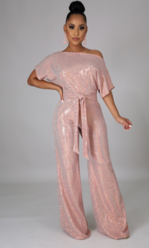 LUCY BLUSH SEQUIN JUMPSUIT
