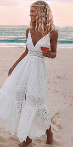 V-neck sexy lace summer dress - lotusglam