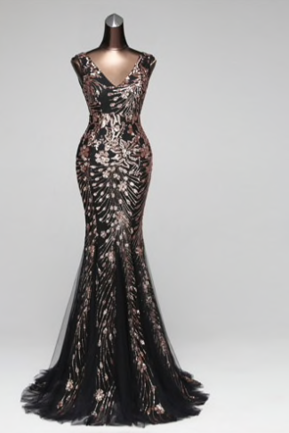 Double-V Mermaid Evening Dress - lotusglam