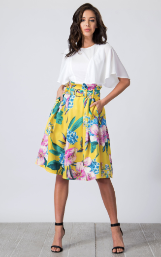 Daffi Pleated Midi Skirt - lotusglam