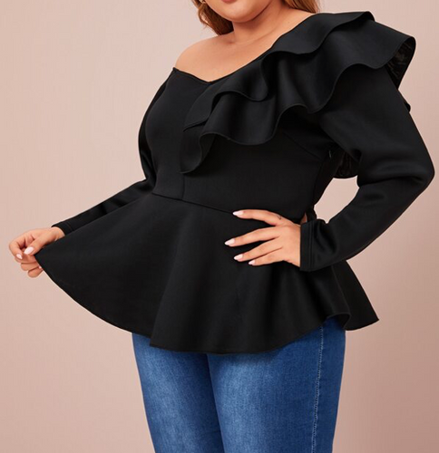 Freida Off The shoulder peplum plus size blouse