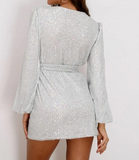 Lori Wrapped Sequined Mini Dress