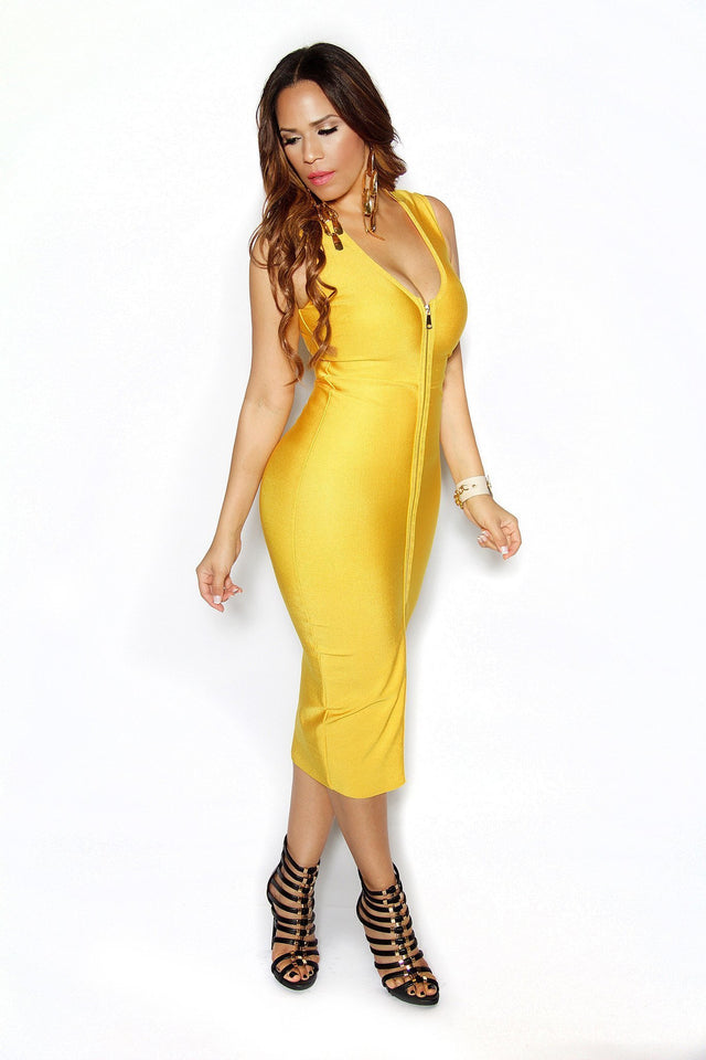 Yellow Sleeveless Midi V Shaped Bandage Dress - MY SEXY STYLES