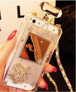 Luxury Bling Crystal Diamond Chain Handbag Perfume Bottle Lanyard Case For IPhone 5 5S SE 6 6S 6 Plus 6Plus 7 8Plus Phone Cases - lotusglam