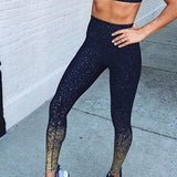 Gold Stamped High Waist Yoga Trousers - lotusglam
