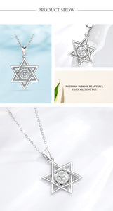 Lotus Glam Sterling Silver Star of David & Cubic Zirconia Pendant