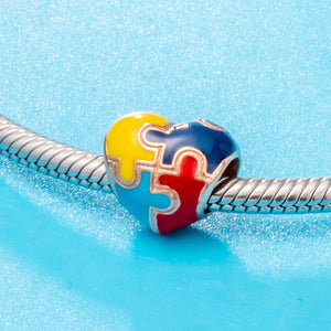 Autism Awareness Puzzle Piece Heart Bead Charm - lotusglam