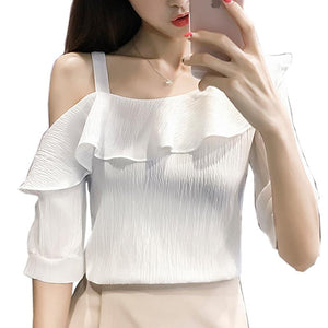 Strapless Short-sleeved Chiffon Shirt - lotusglam