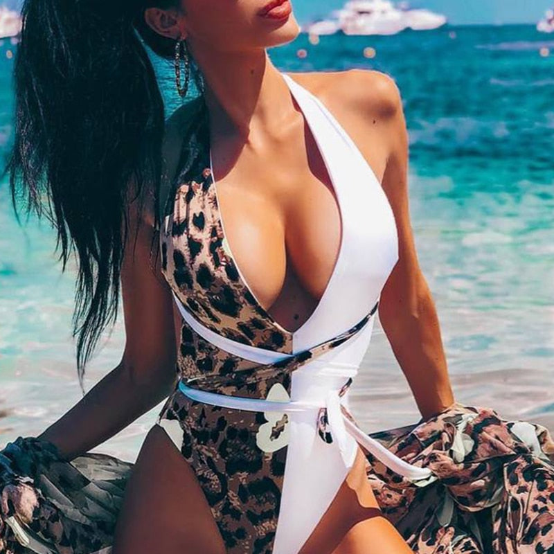 Leopard one piece Swimsuit - lotusglam