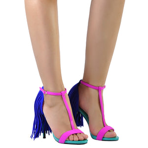 Unicorn fringe ankle strap sandals - lotusglam