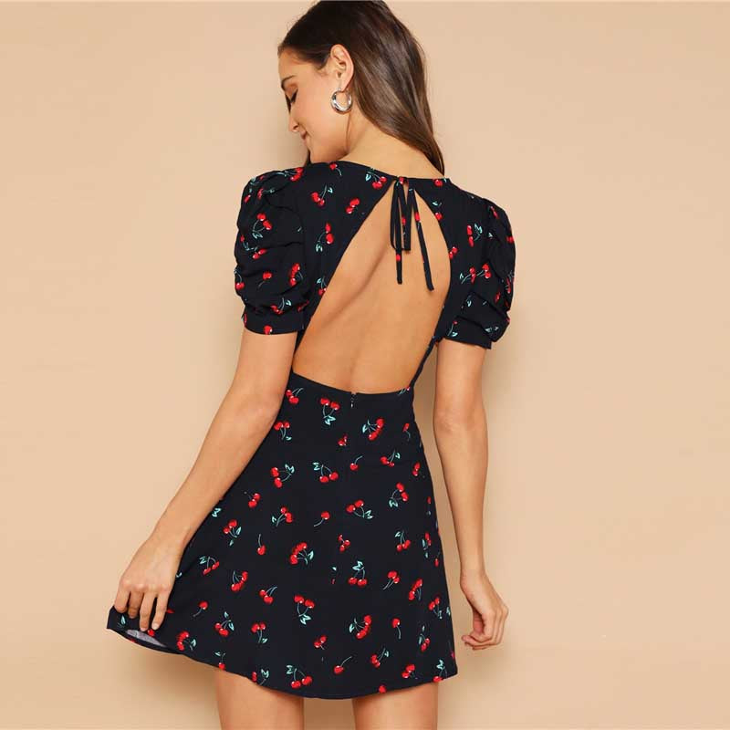 Cherry Print V Neck Sexy Summer Dress - lotusglam
