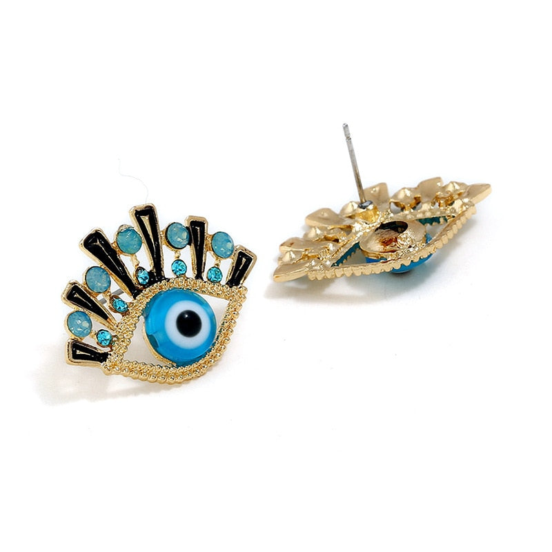 Rhinestone Evil Eye Stud Earrings - lotusglam