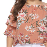 Boho elegant plus size slash neck blouse - lotusglam
