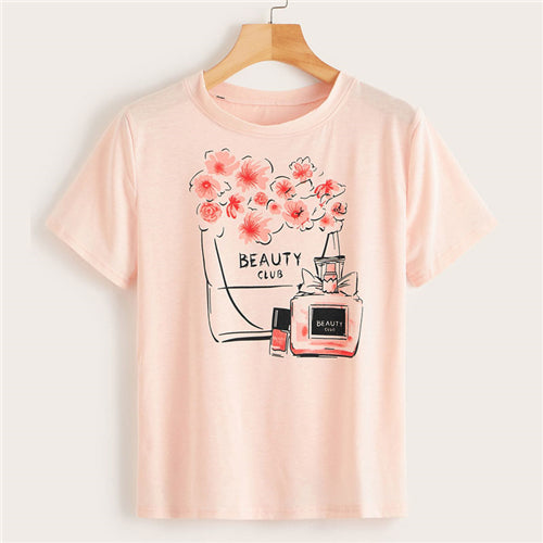 Perfume and floral casual Tee - lotusglam