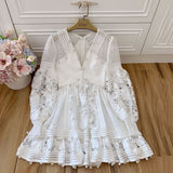Afeesa V-neck Embroidery Lantern Sleeve Dress