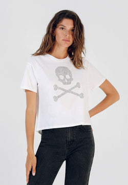 COTTON SKULL T-SHIRT WITH STUDS