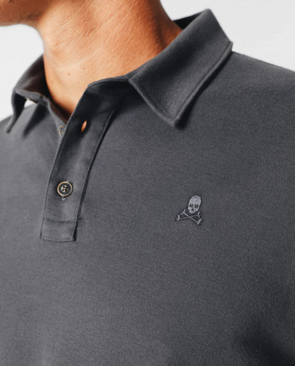 SOFT LONG SLEEVE POLO SHIRT WITH PEACH SKIN EFFECT
