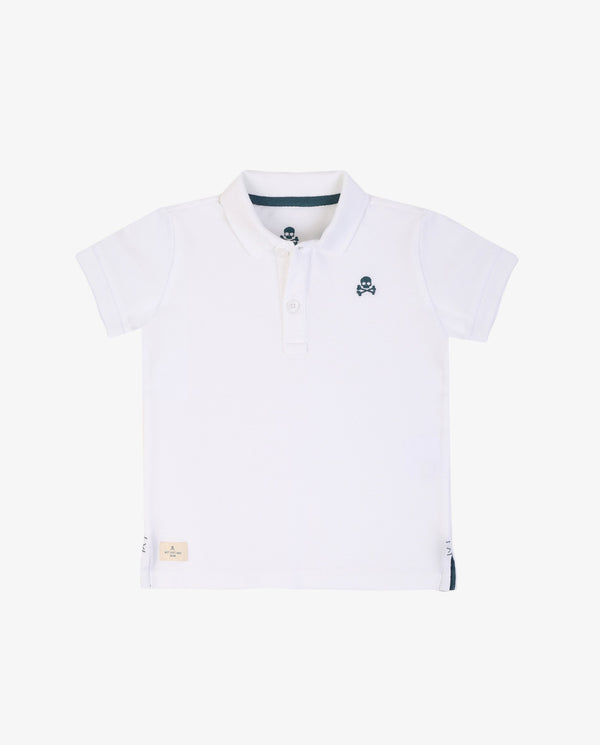 BASIC POLO SHIRT WITH CONTRAST SKULL LOGO