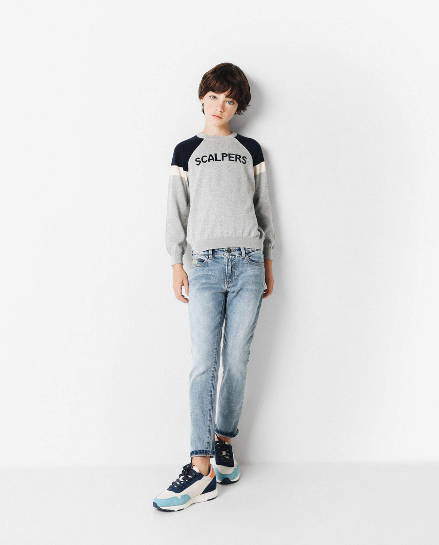 COLOUR BLOCK SWEATER WITH LOGO