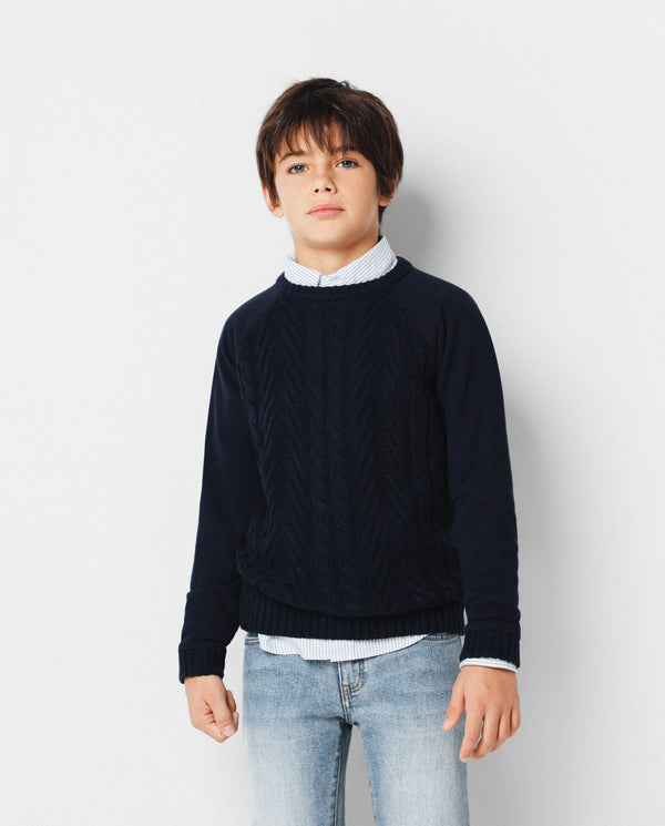 CONTRAST CABLE-KNIT SWEATER