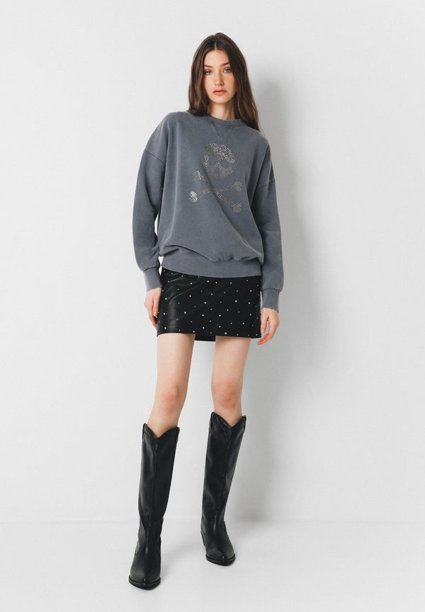 SWEATSHIRT WITH SKULL LOGO AND STUDS