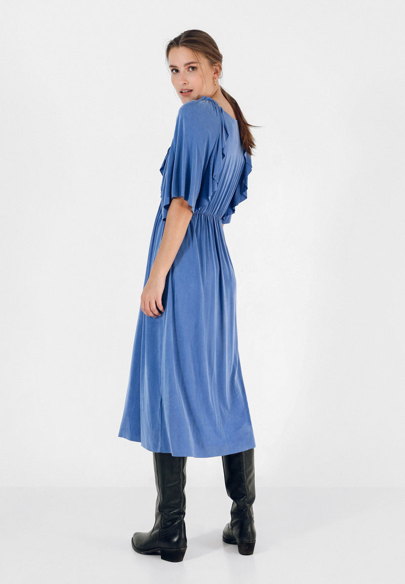 CUPRO DRESS WITH RUFFLES