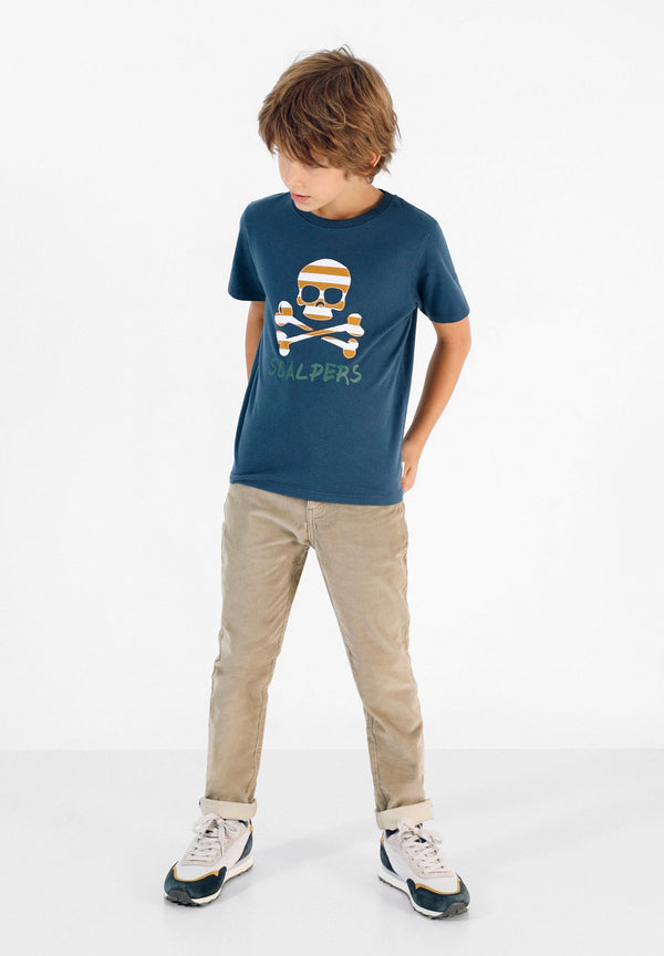 T-SHIRT WITH SKULL AND STRIPES