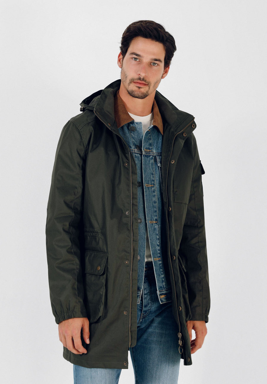 WAXED PARKA WITH HOOD