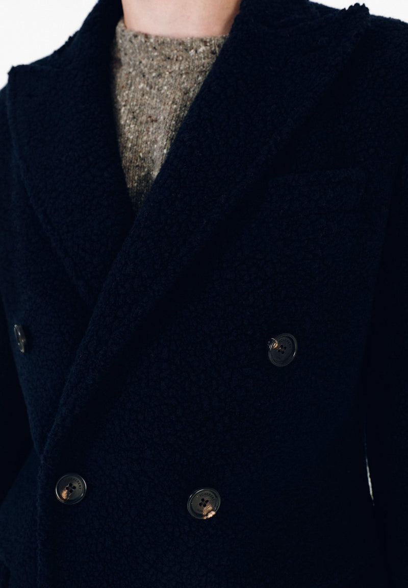 DOUBLE-BREASTED COAT WITH PEAKED LAPEL