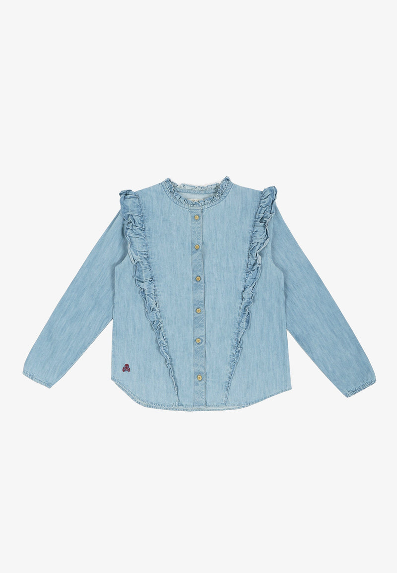 DENIM BLOUSE WITH FRILLS