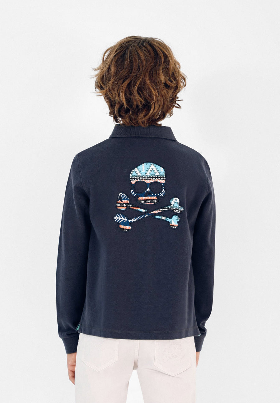 LONG SLEEVE POLO SHIRT WITH BACK SKULL