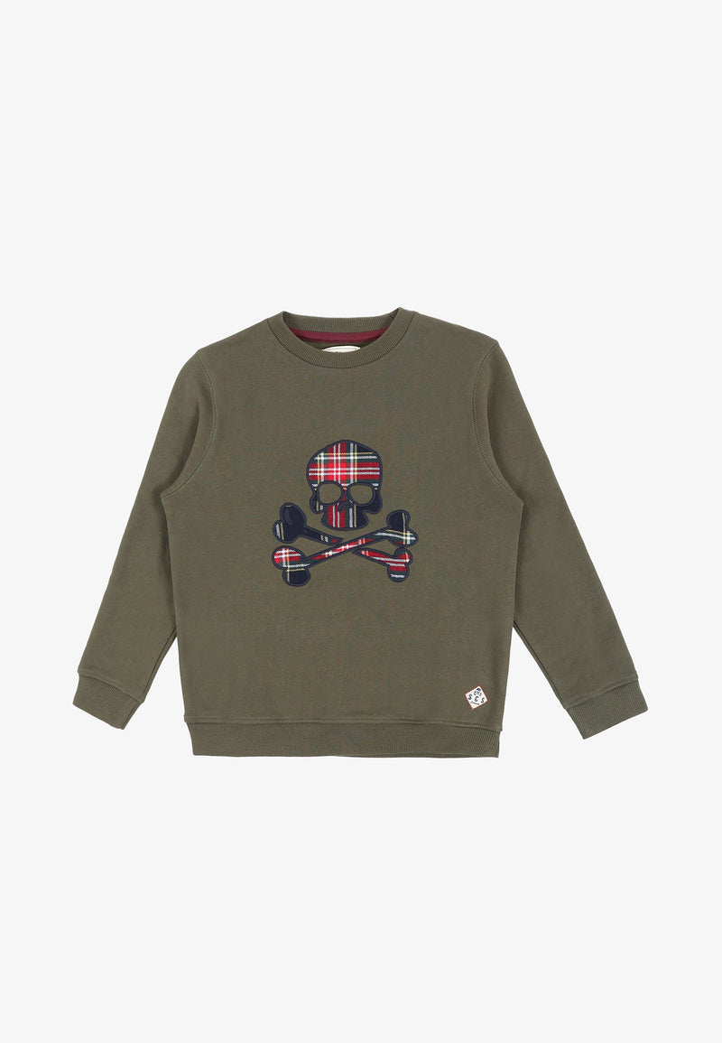 TARTAN SWEATSHIRT WITH SKULL MOTIF