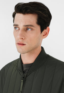 QUILTED JACKET WITH RIBBED NECK