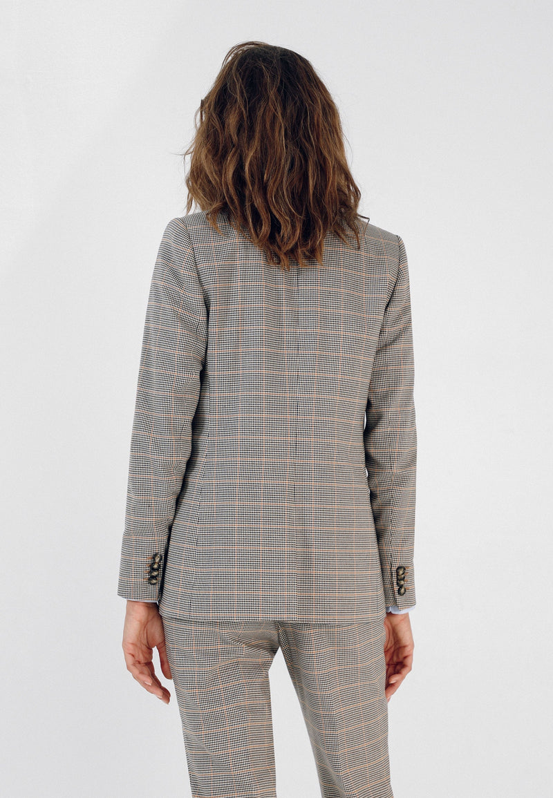 DOUBLE-BREASTED CHECK BLAZER