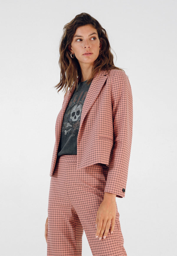 SHORT CHECKED BLAZER