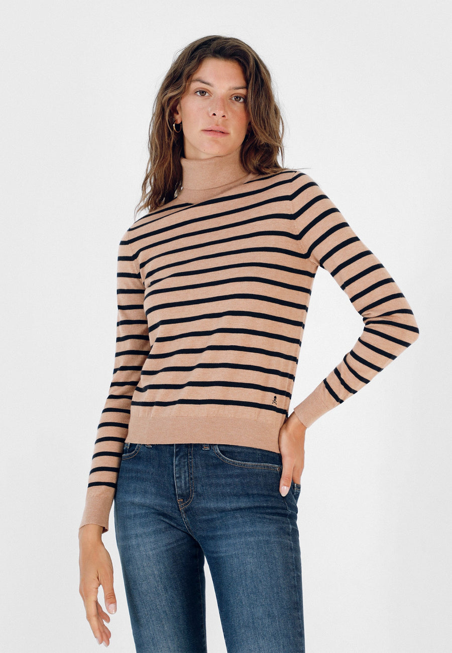 ROLL NECK STRIPE SWEATER