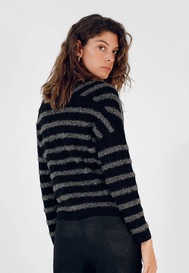 METALLIC STRIPES SWEATER