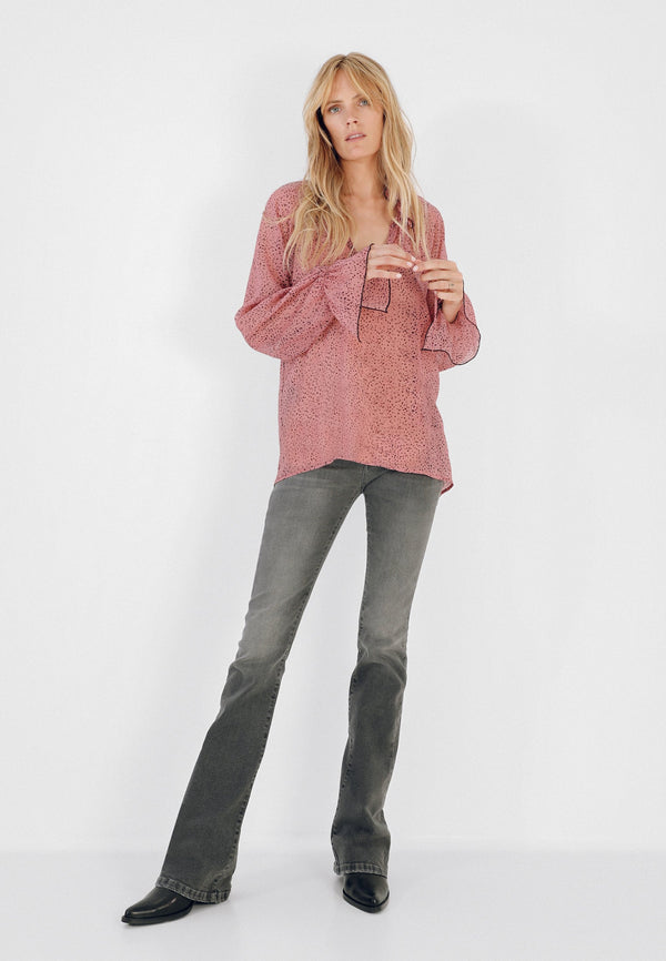 SEMI-SHEER BLOUSE WITH STARS