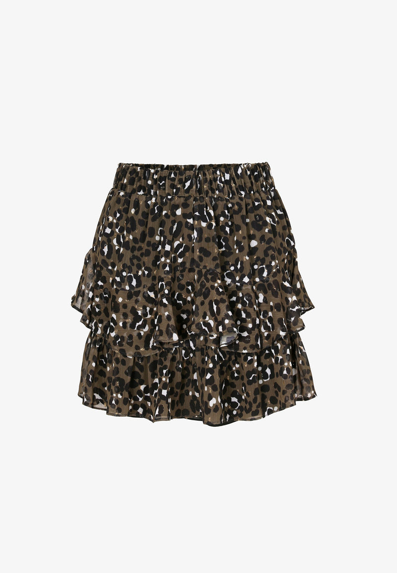 ANIMAL PRINT SKIRT WITH RUFFLE