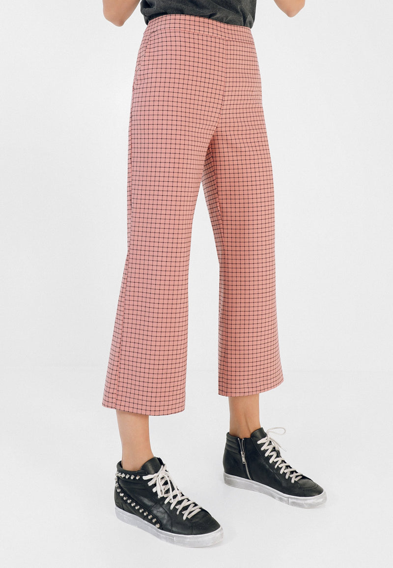 FLARED CHECK TROUSERS